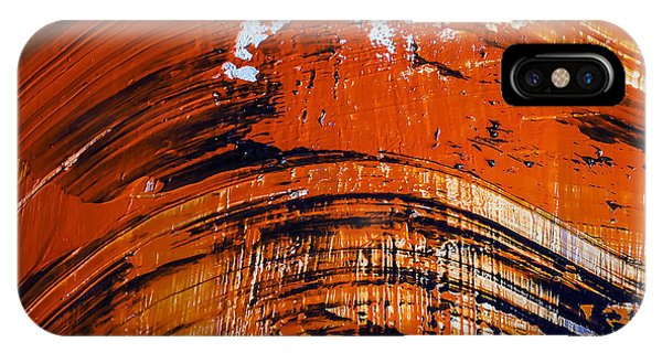 Orange Color iPhone Case - Oil Painting Abstract Brushstrokes by Gumenyuk Dmitriy