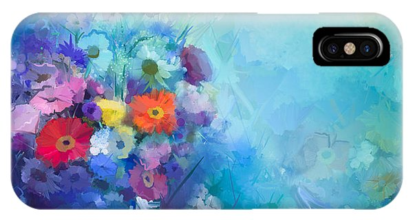 Sunflower iPhone Case - Oil Painting Flowers In Vase. Hand by Pluie r