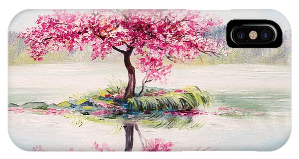 Fresh iPhone Case - Oil Painting Landscape, Oriental Cherry by Fresh Stock