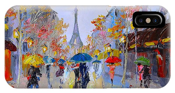 French Landscape iPhone Case - Oil Painting Of Eiffel Tower, France by Fresh Stock