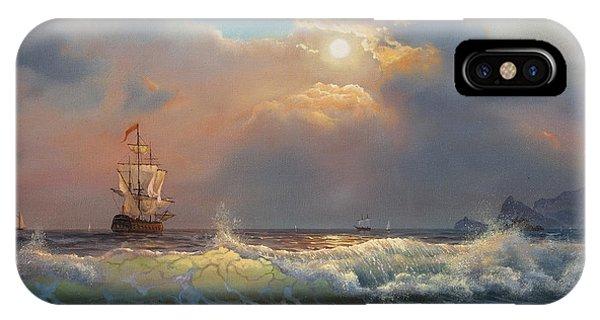 Modern iPhone Case - Oil Painting On Canvas , Sailboat by Liliya Kulianionak