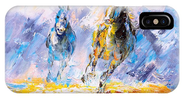 Modern iPhone Case - Oil Painting - Running Horse by Cyc
