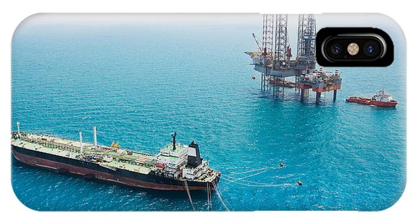 Technology iPhone Case - Oil Tanker And Oil Rig In The Gulf by Kanok Sulaiman