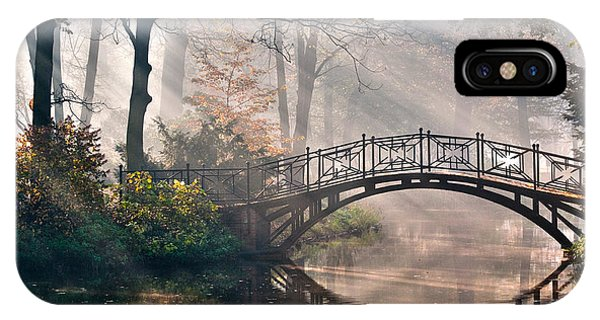 Columns iPhone Case - Old Bridge In Autumn Misty Park - Hdr by Gorillaimages
