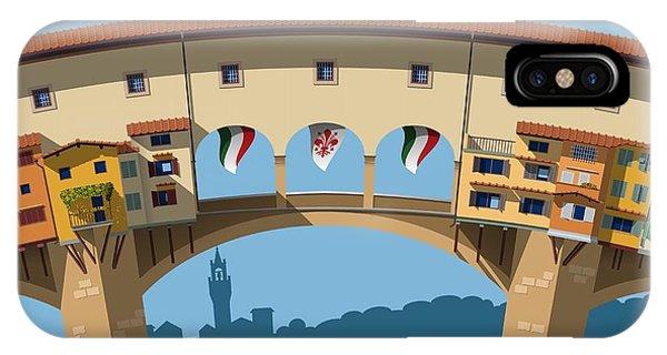 Famous People iPhone Case - Old Bridge In Florence Flat Illustration by Nikola Knezevic