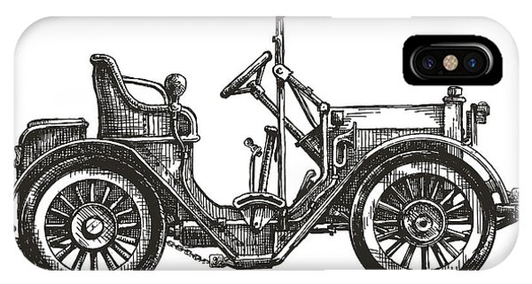 White Background iPhone Case - Old Car On A White Background. Sketch by Ava Bitter