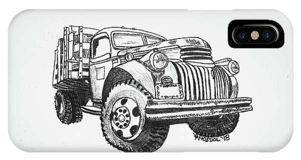 Old Chevy Truck iPhone Case - Old Farm Truck - Graphite Pencil by Scott D Van Osdol