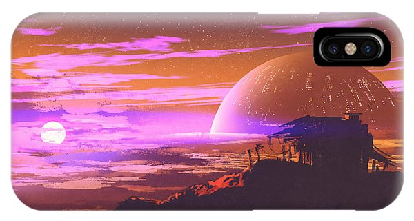 Space iPhone Case - Old House On Planet by Tithi Luadthong