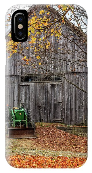 New England Fall Foliage iPhone Case - Old John Deere Tractor Fall Foliage by Edward Fielding