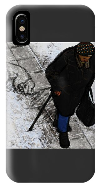 IPhone Case featuring the digital art Old Lady With A Dog by Attila Meszlenyi