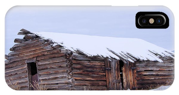 Middle Of Nowhere iPhone Case - Old Log Cabin Cabin In Snowfall by Jeff Swan