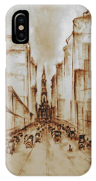 Old Philadelphia City Hall 1920 - Pencil Drawing IPhone Case