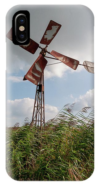 IPhone Case featuring the photograph Old Rusty Windmill. by Anjo Ten Kate