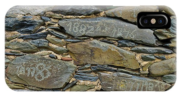 Old Schist Wall With Several Dates From 19th Century. Portugal IPhone Case