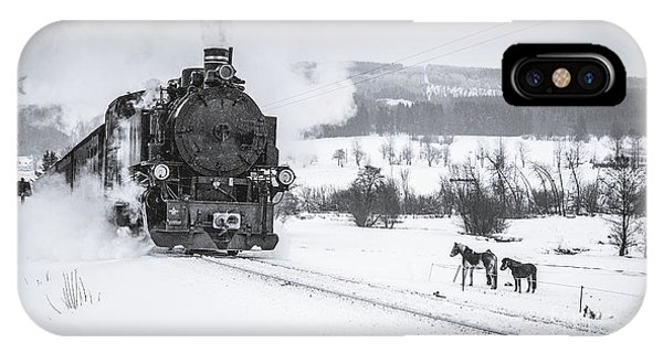 Railroad Station iPhone Case - Old Steam Train Puffing Across Winter by Tomas Kulaja