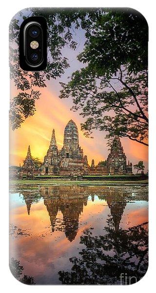 Zen iPhone Case - Old Temple Wat Chaiwatthanaram In by Santiphotoss
