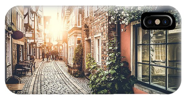 Historic House iPhone Case - Old Town In Europe At Sunset With Retro by Canadastock