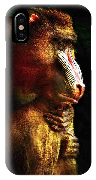 IPhone Case featuring the mixed media Old World Mandrill by Susan Maxwell Schmidt
