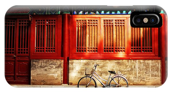 Old Building iPhone Case - One Bicycle In Front Of Oriental Red by N K