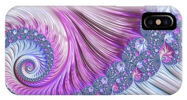 Julia Fractal iPhone X Case - Opal Nautilus by Susan Maxwell Schmidt