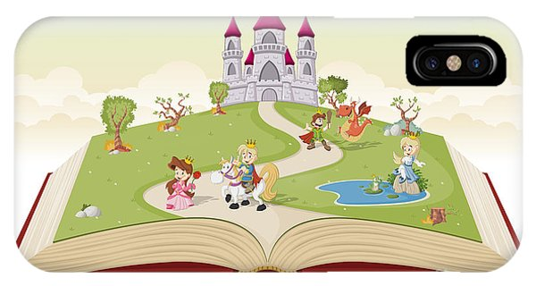 Open iPhone Case - Open Book With Cartoon Princesses And by Denis Cristo