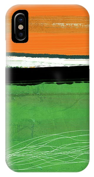 Century iPhone Case - Orange And Green Abstract I by Naxart Studio