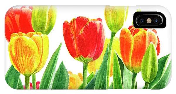 White Tulip iPhone Case - Orange And Yellow Tulips Horizontal Design by Sharon Freeman