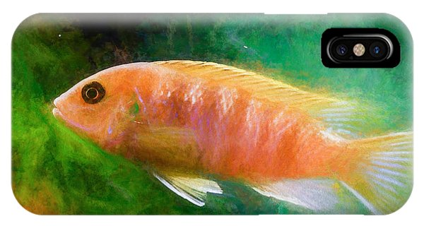 IPhone Case featuring the digital art Orange Cichlid Chalk Smudge by Don Northup