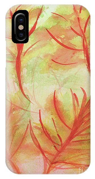 Orange Fanciful Leaves IPhone Case