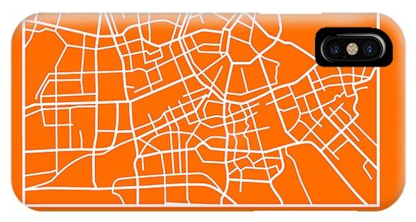Holland iPhone Case - Orange Map Of Amsterdam by Naxart Studio