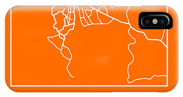 Town iPhone Case - Orange Map Of Cape Town by Naxart Studio