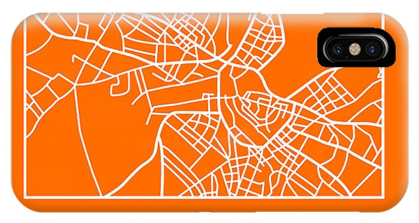 Souvenirs iPhone Case - Orange Map Of Helsinki by Naxart Studio