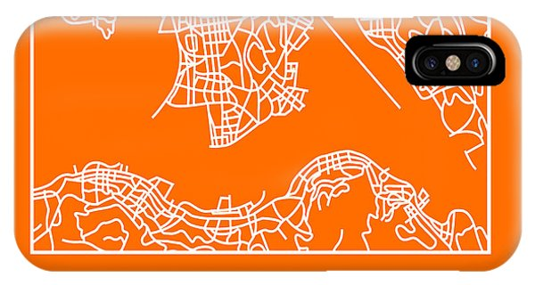 Souvenirs iPhone Case - Orange Map Of Hong Kong by Naxart Studio