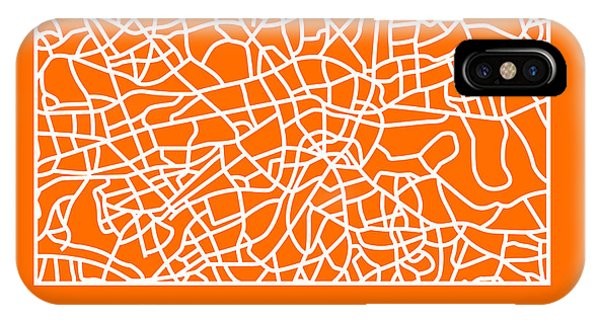 Souvenirs iPhone Case - Orange Map Of London by Naxart Studio