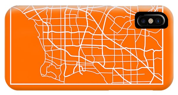 Souvenirs iPhone Case - Orange Map Of Los Angeles by Naxart Studio