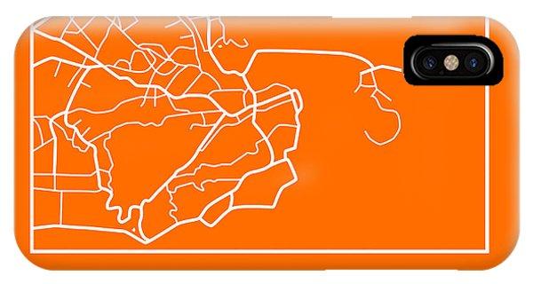 Brazil iPhone X Case - Orange Map Of Rio De Janeiro by Naxart Studio