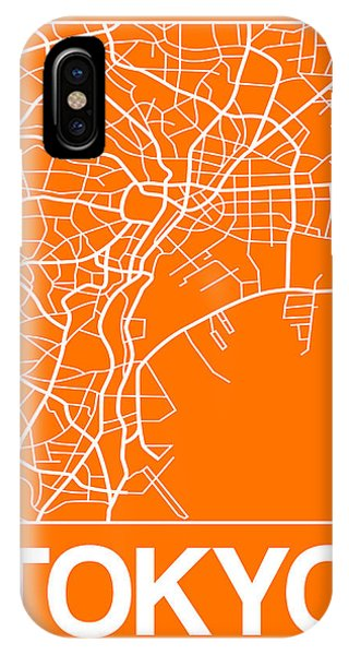 Souvenirs iPhone Case - Orange Map Of Tokyo by Naxart Studio