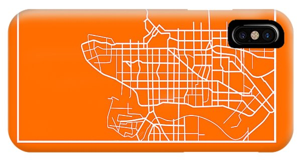 Souvenirs iPhone Case - Orange Map Of Vancouver by Naxart Studio