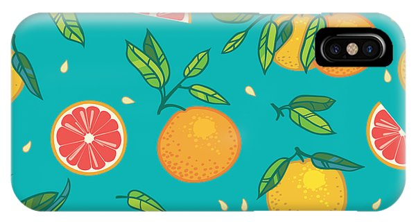 Grapefruit iPhone Case - Orange Or Grapefruit With Leaves by Shum-stock