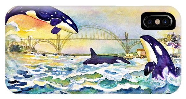 Orcas In Yaquina Bay IPhone Case