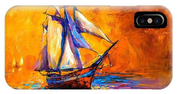 Artwork iPhone Case - Original Oil Painting On Canvas-sail by Ivailo Nikolov