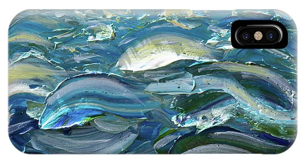IPhone Case featuring the painting Original Oil Painting With Palette Knife On Canvas - Impressionist Roling Blue Sea Waves  by OLena Art Brand