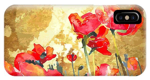 Modern iPhone Case - Original Watercolor Poppy Flower In by Karakotsya