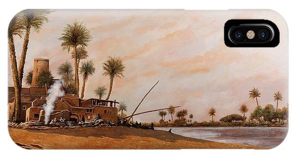 Egyptian iPhone X Case - Ormeggio Sul Nilo by Guido Borelli