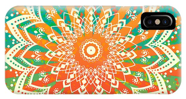 Peace iPhone Case - Ornament Black White Card With Mandala by An Vino