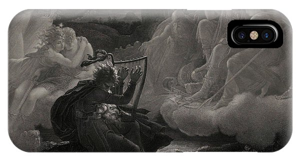 Awakening iPhone Case - Ossian Awakening The Spirits On The Banks Of The Lora With The Sound Of His Harp, 1801 by Jean Godefroy