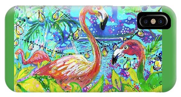 Outdoor Flamingo Party IPhone Case