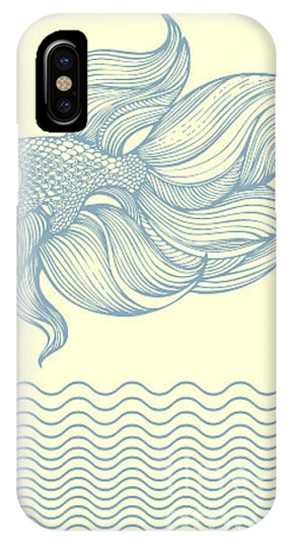Fins iPhone Case - Outline Gold Fish by Laquarelle