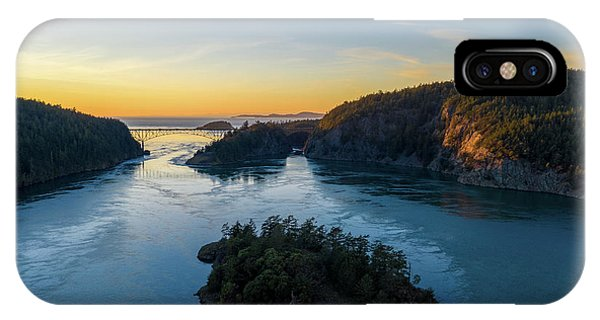 Whidbey iPhone Case - Over Deception Pass At Sunset by Mike Reid