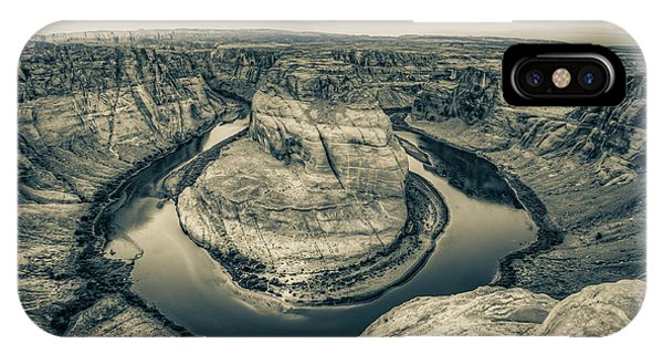 Over The Edge Of Horseshoe Bend - Sepia Edition IPhone Case